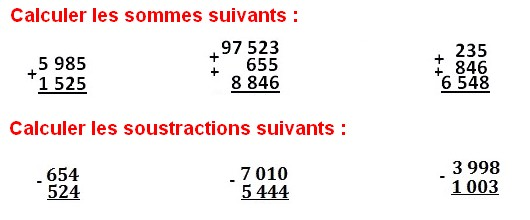 Exercices corrigés de maths 6éme - Les Opérations Addition Soustraction Multiplication Division