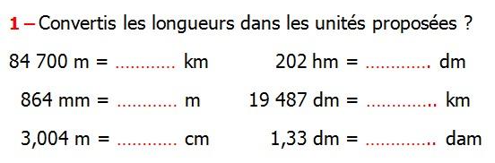 Exercices corrigés de maths 6éme - Longueurs Masses Durées ...