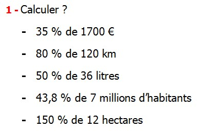 Exercices corrigés de maths 5éme - Le pourcentage ...