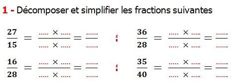 Exercices de maths 6éme - Fractions égalité et simplification